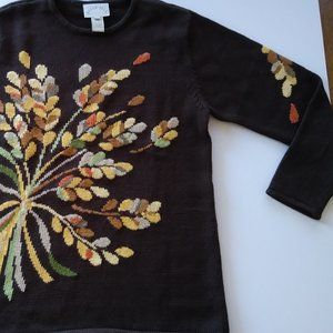 Beautiful FALL Sweater Brown with Leaves Design Sm